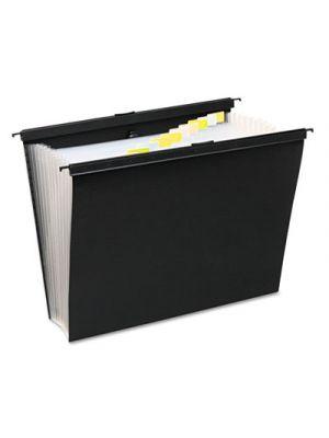 Slide-Bar Expanding Pocket File; 13 Pockets; Poly; Letter; Black