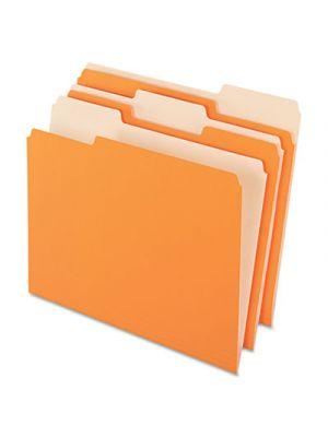 Colored File Folders; 1/3 Cut Top Tab; Letter; Orange/Light Orange; 100/Box