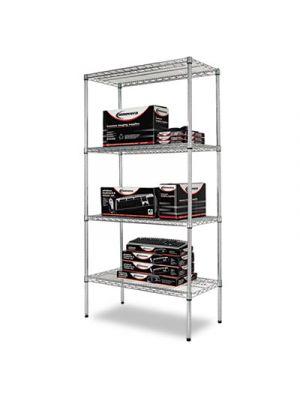 Industrial Heavy-Duty Wire Shelving Starter Kit, 4-Shelf, 36w x 18d x 72h,Silver