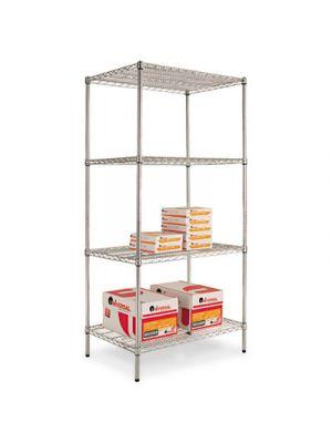 Industrial Heavy Duty Wire Shelving Starter Kit, 4-Shelf, 36w x 24d x 72h,Silver
