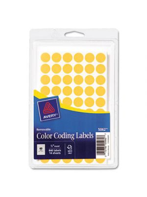 Handwrite Only Removable Round Color-Coding Labels, 1/2