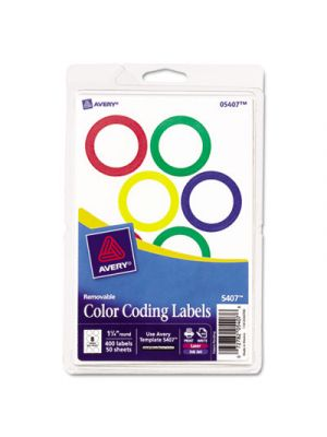 Printable Removable Color-Coding Labels, 1 1/4