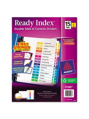Ready Index Customizable Table of Contents, Asst Dividers, 15-Tab, Ltr, 6 Sets