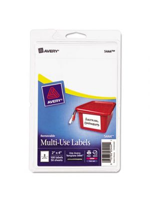 Removable Multi-Use Labels, 2 x 4, White, 100/Pack