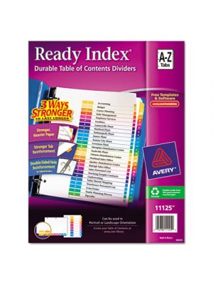 Ready Index Customizable Table of Contents Multicolor Dividers, 26-Tab, Letter