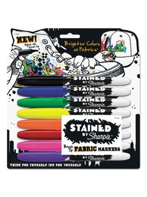 Stained Permanent Fabric Marker, Assorted, 8/Pack