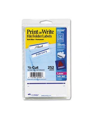 Print or Write File Folder Labels, 11/16 x 3 7/16, White/Dark Blue Bar, 252/Pack