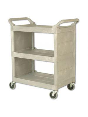 Utility Cart, 300-lb Cap, Three-Shelf, 32w x 18d x 37-1/2h, Platinum