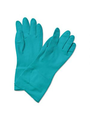 Flock-Lined Nitrile Gloves, Medium, Green, Dozen