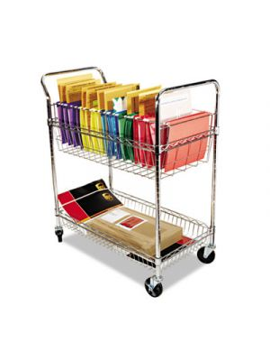 Carry-all Cart/Mail Cart, Two-Shelf, 34-7/8w x 18d x 39-1/2h, Silver