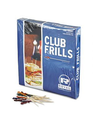 Club Cellophane-Frill Wood Picks, 4