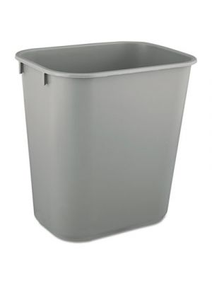 Deskside Plastic Wastebasket, Rectangular, 3 1/2 gal, Gray