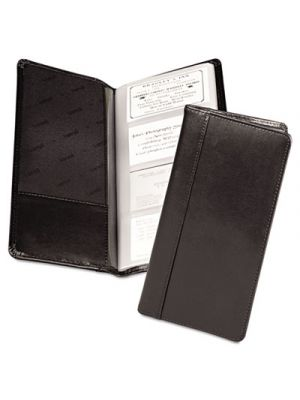Regal Leather Business Card File, 96 Card Cap, 2 x 3 1/2 Cards, Black