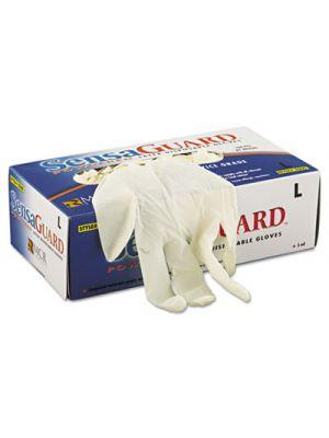 SensaGuard Industrial Grade Chlorinated Disposable Gloves, White, Large, 100/Box