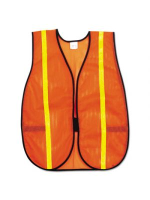 Polyester Mesh Safety Vest, 3/4 in., Lime Green Stripe, One Size Fits All