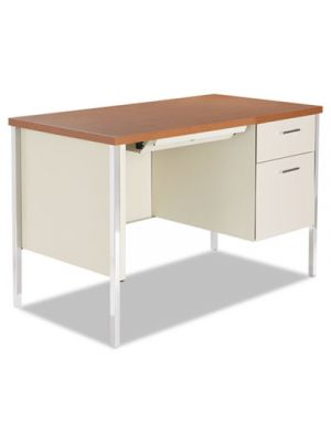 Single Pedestal Steel Desk, Metal Desk, 45-1/4w x 24d x 29-1/2h, Cherry/Putty