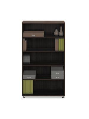e5 Series Five-Shelf Bookcase, 36w x 15d x 62h, Walnut