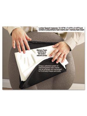 Deluxe Lumbar Support Cushion w/Memory Foam, 12 1/2w x 2 1/2d x 7 1/2h, Black
