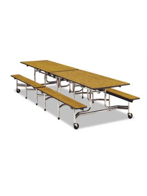 Folding Mobile Table w/Attached Seating, 144w x 30d x 29h, Gray Nebula/Chrome