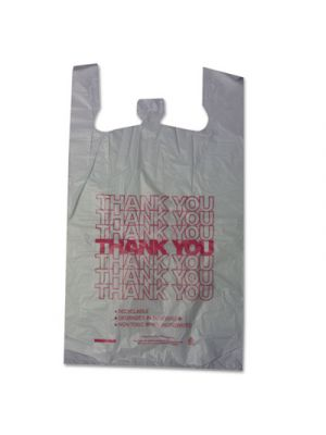 Thank You High-Density Shopping Bags, 18w x 8d x 30h, White, 500/Carton