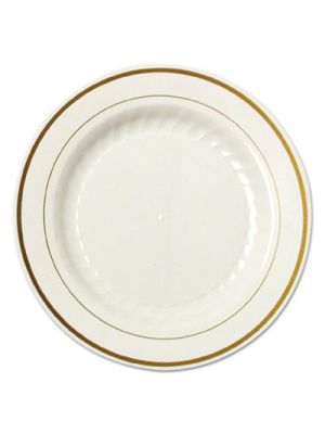 Masterpiece Plastic Plates, 9 in., Ivory w/Gold Accents, Rnd, 10/PK, 12 PK/CT