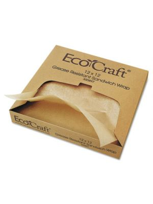 EcoCraft Grease-Resistant Paper Wrap/Liner, 12 x 12, 1000/Box, 5 Boxes/Carton