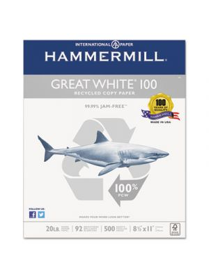 Great White 100 Recycled Copy Paper, 20lb, 8-1/2 x 11, White, 5,000 Sheet/Carton
