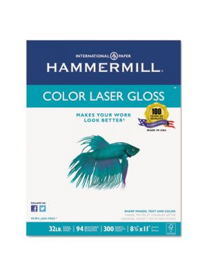 Color Laser Gloss Paper, 94 Brightness, 32lb, 8-1/2 x 11, White, 300 Sheets/Pack