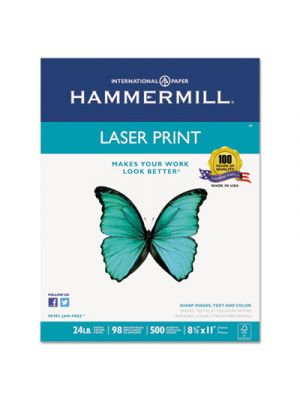 Laser Print Office Paper, 98 Brightness, 24lb, 8-1/2 x 11, White, 500 Sheets/Rm