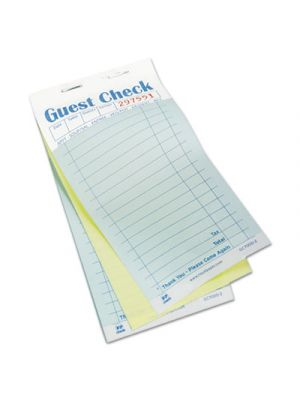 Guest Check Book, Carbonless Duplicate, 3 2/5 x 6 7/10, 50/Book, 50 Books/Carton