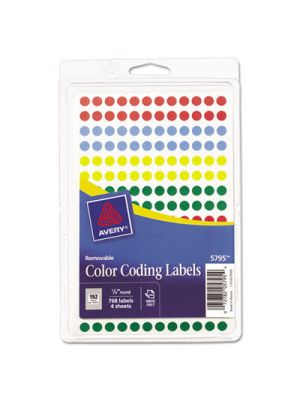 Handwrite Only Removable Round Color-Coding Labels, 1/4