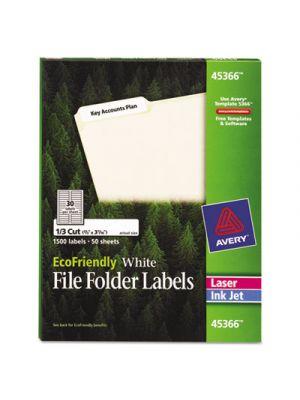 EcoFriendly File Folder Labels, 2/3 x 3 7/16, White, 1500/Pack