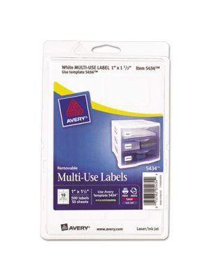 Removable Multi-Use Labels, 1 x 1 1/2, White, 500/Pack