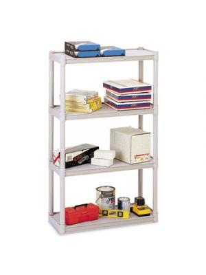 Rough N Ready Four-Shelf Open Storage System, Resin, 32w x 13d x 54h, Platinum