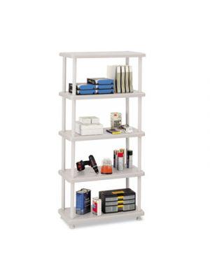 Rough N Ready Five-Shelf Open Storage System, Resin, 36w x 18d x 74h, Platinum