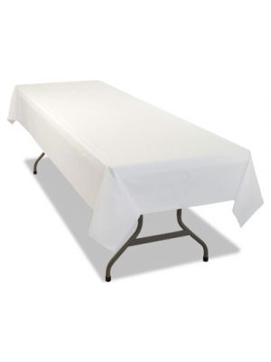 Rectangular Table Cover, Heavyweight Plastic, 54 x 108, White, 6/Pack, 4PK/CT