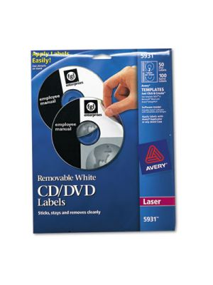 Laser CD Labels, Matte White, 50/Pack