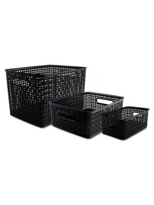 Weave Bins; Assorted; Plastic; Black; 3 Bins