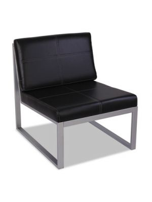 Alera Ispara Series Armless Cube Chair, 26-3/8 x 31-1/8 x 30, Black/Silver