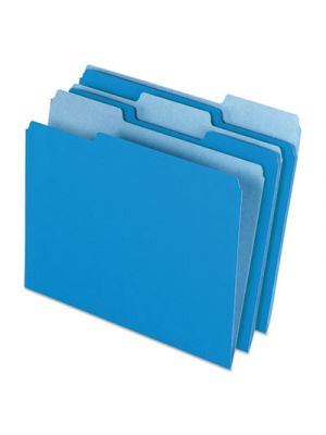 Colored File Folders; 1/3 Cut Top Tab; Letter; Blue/Light Blue; 100/Box