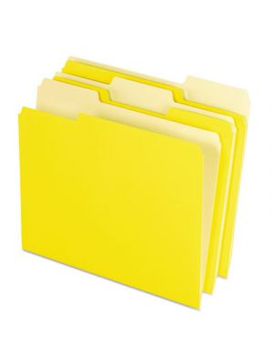Colored File Folders; 1/3 Cut Top Tab; Letter; Yellow; Light Yellow; 100/Box