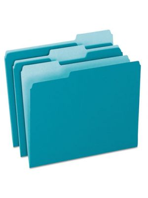 Colored File Folders; 1/3 Cut Top Tab; Letter; Teal/Light Teal; 100/Box