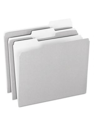 Colored File Folders; 1/3 Cut Top Tab; Letter; Gray/Light Gray; 100/Box