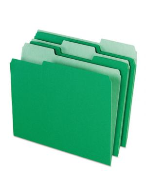 Colored File Folders; 1/3 Cut Top Tab; Letter; Green/Light Green; 100/Box