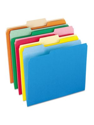 Colored File Folders; 1/3 Cut Top Tab; Letter; Assorted Colors; 100/Box