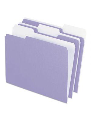 Colored File Folders; 1/3 Cut Top Tab; Letter; Lavender/Light Lavender; 100/Box