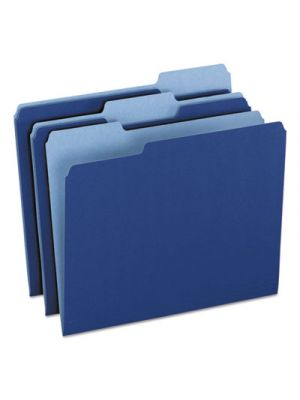 Colored File Folders; 1/3 CutTop Tab; Letter; Navy Blue/Light Navy Blue; 100/Box