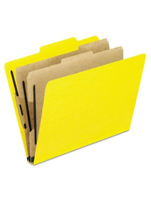 Six-Section Colored Classification Folders; Letter; 2/5 Tab; Yellow; 10/Box