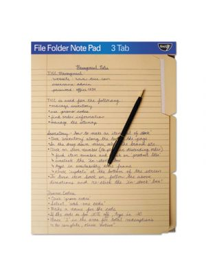 FindIt File Folders Notepad; 1/3 Cut; 11 Pt Stock; Letter; Manila
