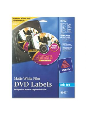 Inkjet DVD Labels, Matte White, 20/Pack
